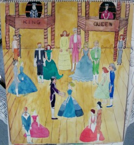 Angela's watercolor of an old-fashioned dance